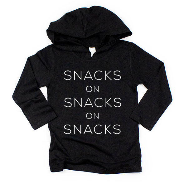 """Snacks on Snacks on Snacks"" Black Child Long Sleeve Hoodie Shirt"
