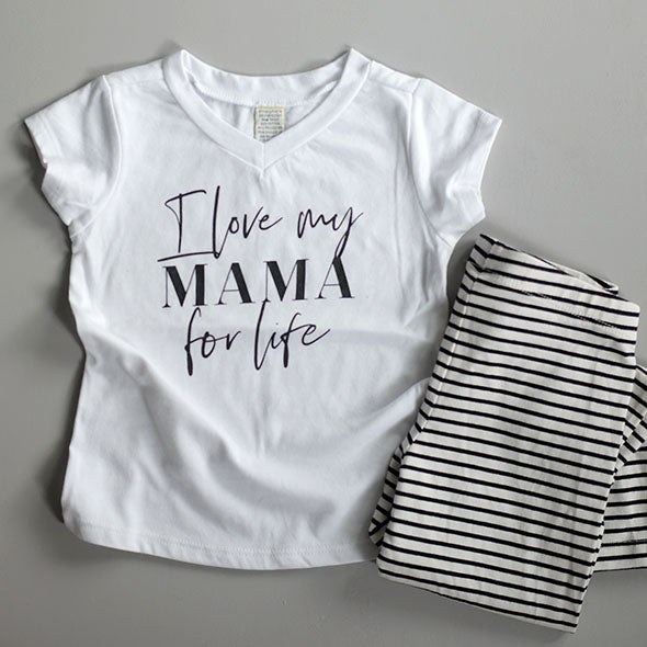 """I Love My Mama for Life"" Child White V-Neck T-Shirt"