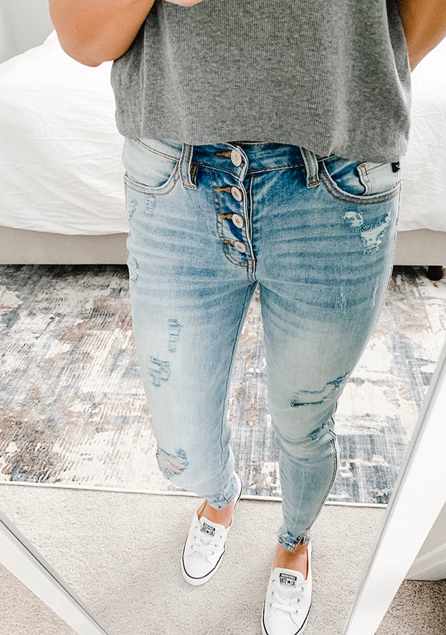 """Sarah"" - Adult Distressed Light Faded Wash a Denim Jeans"