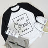 """West Coast Mama"" Black/White Ladies Baseball Raglan - Size XL"