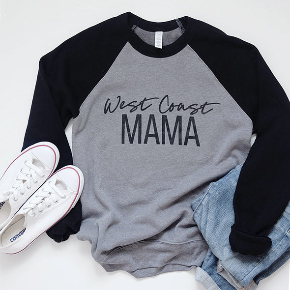 """West Coast Mama"" Two Tone Grey/Black Crewneck Sweatshirt"