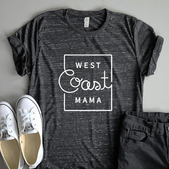 """West Coast Mama"" Black Marble Adult Ladies T-Shirt"