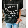 """West Coast Mama"" Adult Black Heather Crewneck T-Shirt"
