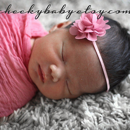 Dusty Rose Pink Flower Headband