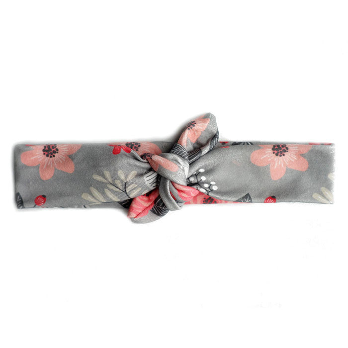 Grey Floral Organic Top Knot Headband
