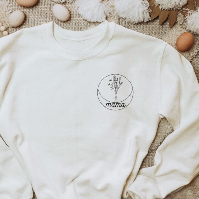 """Mama"" Floral Circle Ladies Cream Ivory Crewneck Sweatshirt"