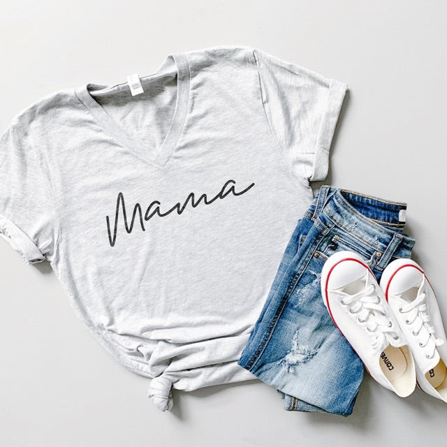 """Mama"" Heather Grey Adult Ladies V-Neck T-Shirt"