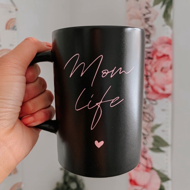 """Mom Life"" Matte Black and Pink Ceramic Mug"