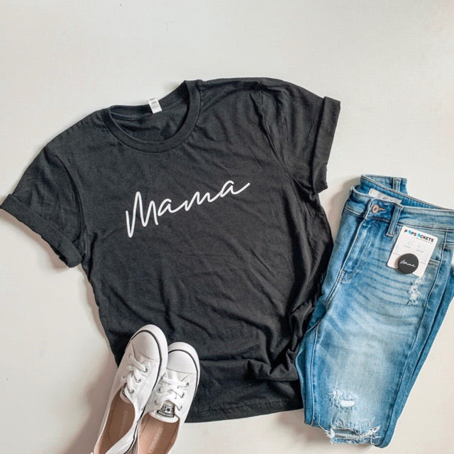 """Mama"" Adult Ladies Black Heather Crewneck T-Shirt with White Ink"