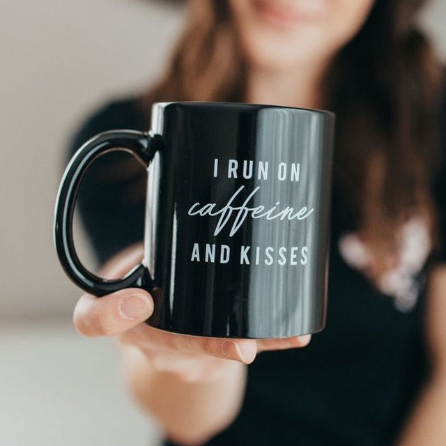 """I run on caffeine & kisses"" Glossy Black Ceramic Mug 11 oz."