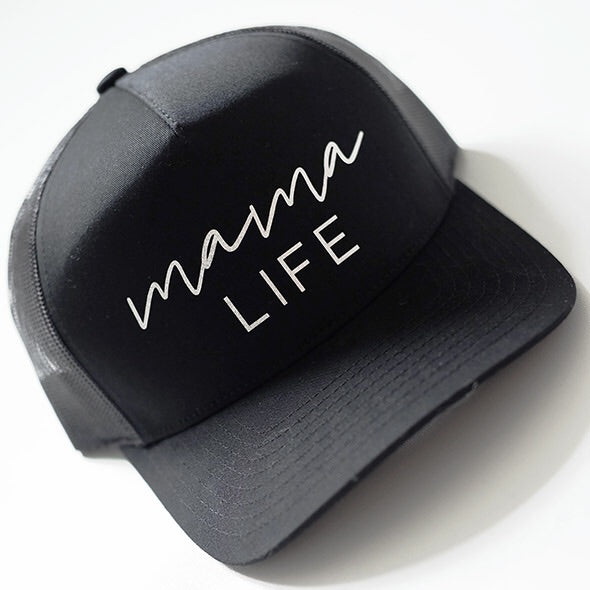"""Mama Life"" Black Cap with Gold Glitter Design"