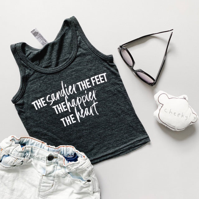 """The sandier the feet the happier the heart"" Child Tank Top Triblend Charcoal"