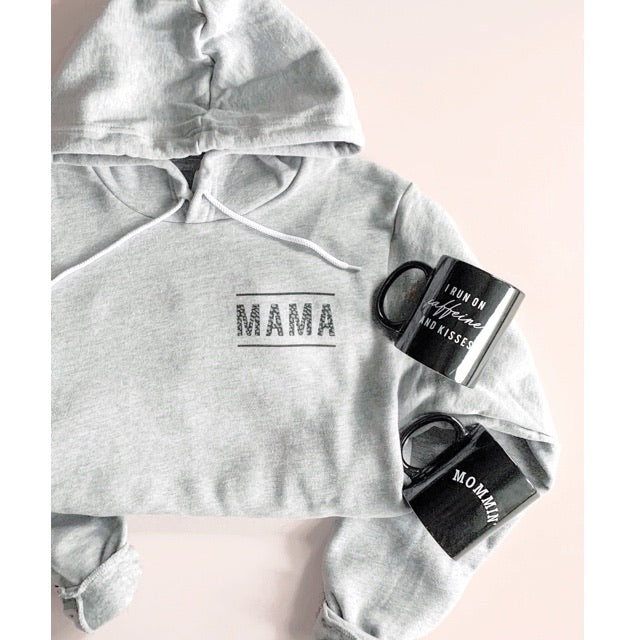 2 PC Set - Mama Grey Hoodie Sweatshirt & Mug