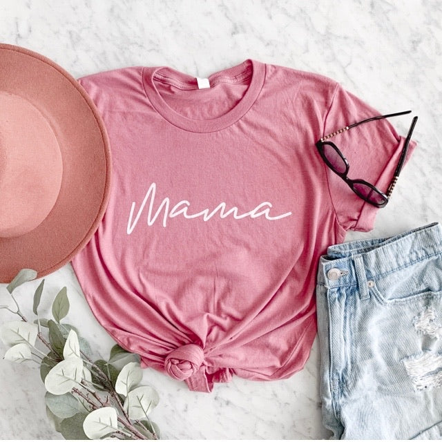 """Mama"" Adult Ladies Dusty Rose Mauve Crewneck T-Shirt"