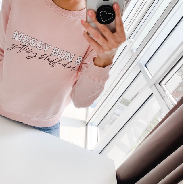 Messy Bun and Getting Stuff Done Ladies Peach Crewneck Sweatshirt
