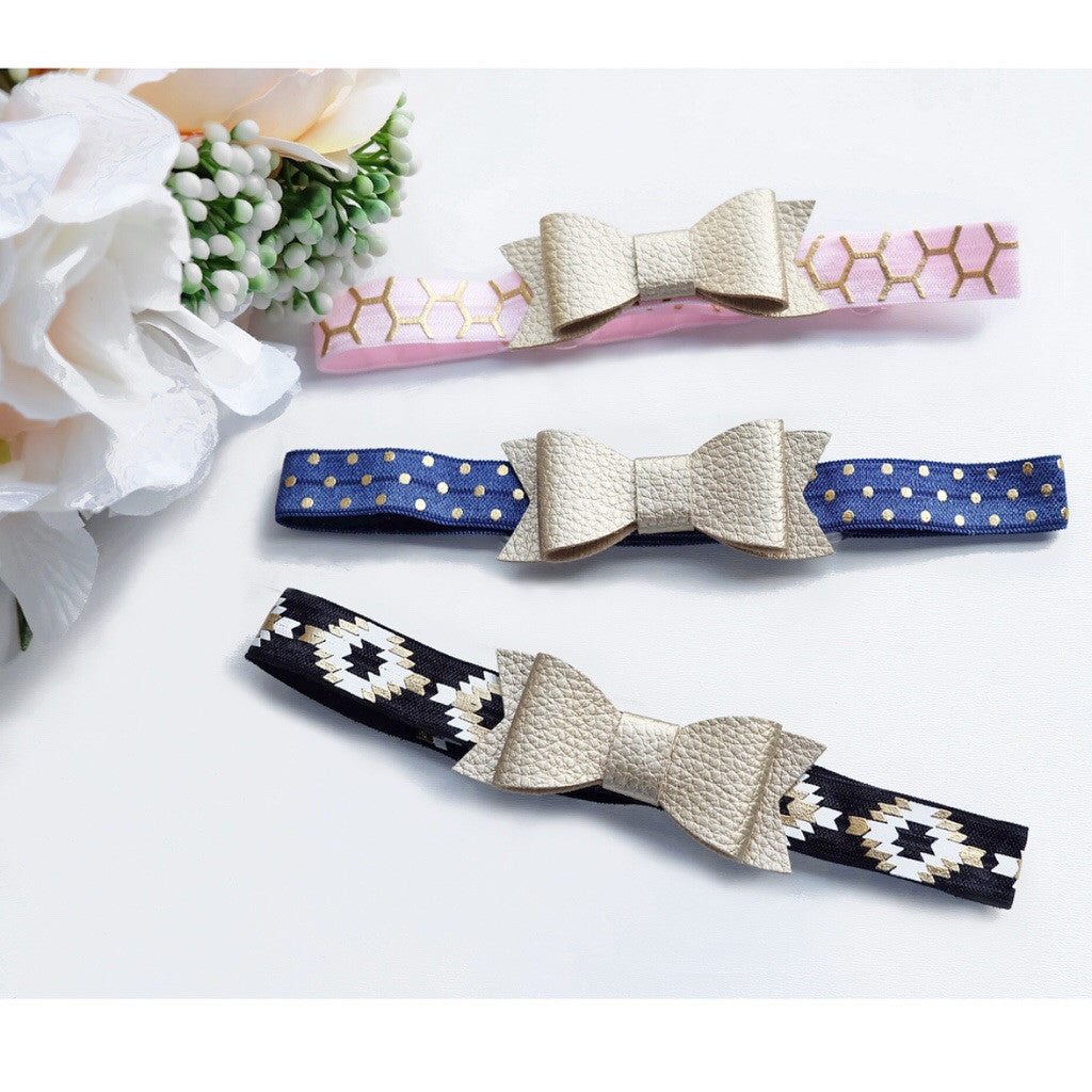 Pick ONE Elastic Leather Bow Headband