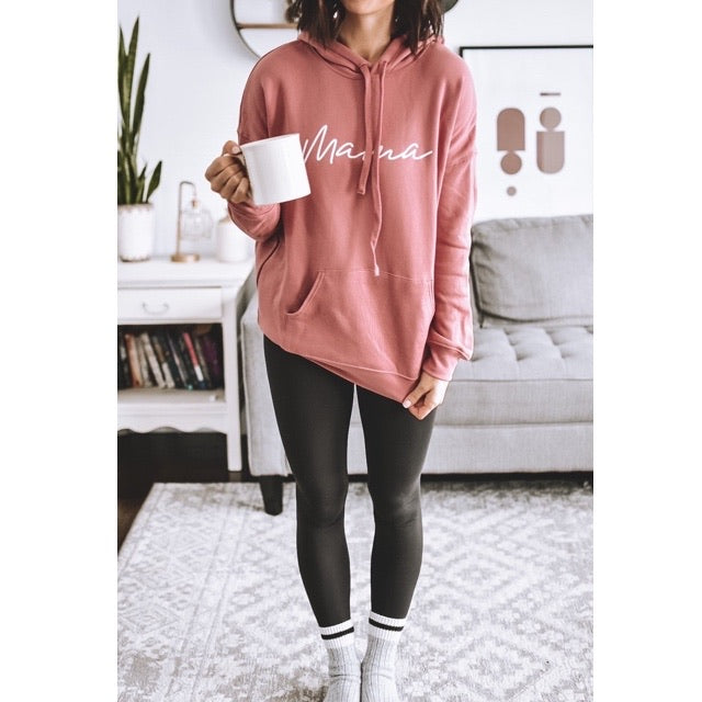 """Mama"" Dusty Rose Mauve Hoodie Sweatshirt - Size XL"