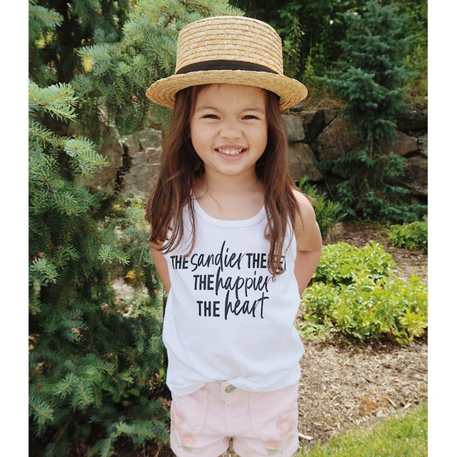 """The Sandier the Feet the Happier the Heart"" White Child Tank Top"