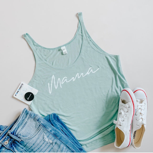"""Mama"" Seafoam Green Adult Ladies Tank Top"