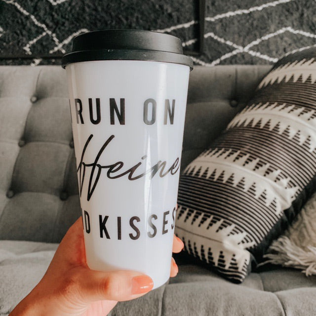 """I run on caffeine and kisses"" Travel Mug"
