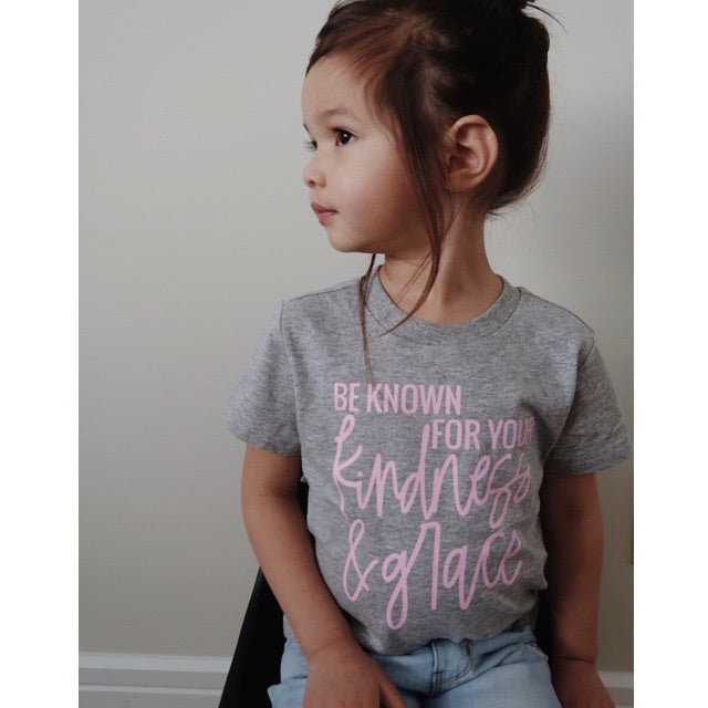 """Be Known for your Kindness & Grace"" Grey and Pink Child T-Shirt"
