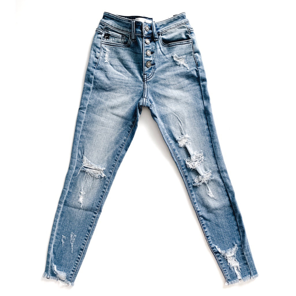 """Isla"" - Adult Distressed Ripped Medium Blue Button Jeans"