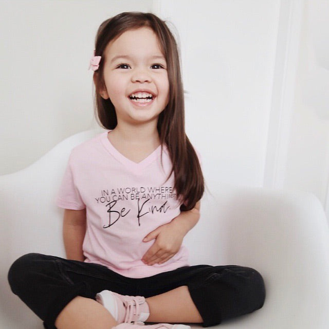 """Be Kind"" Child V-Neck T-Shirt Light Pink"