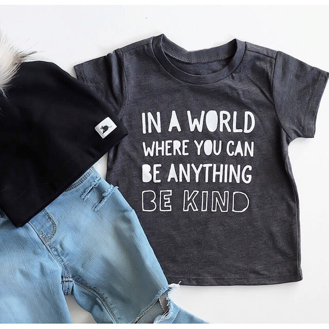 """Be Kind"" Child T-Shirt Dark Grey - Size 4 Only"