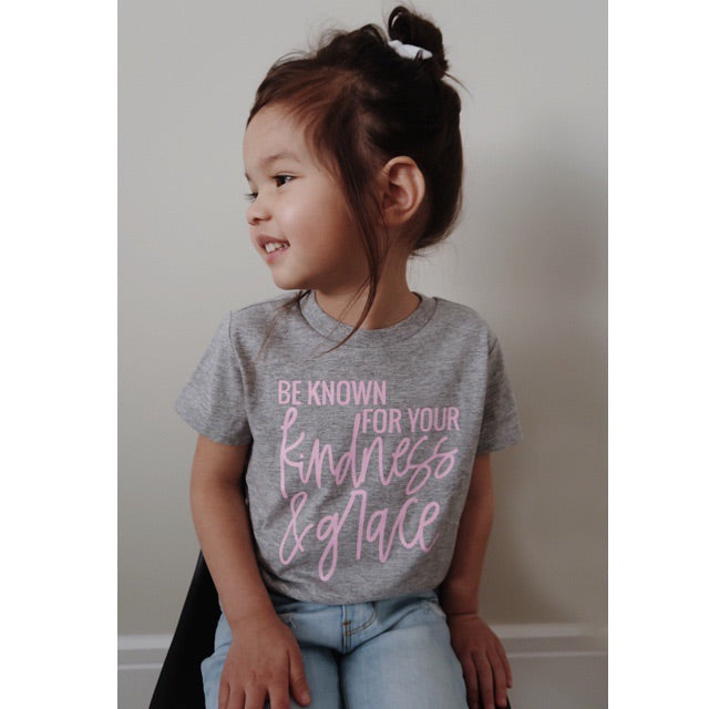 """Be Known for your Kindness & Grace"" Grey and Pink Child T-Shirt - Size 18 Months"