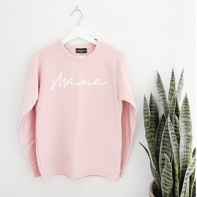 Mama - Ladies Dusty Mauve Pink Crewneck Adult Sweatshirt