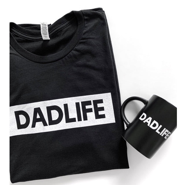 "2 PC Gift Set - ""Dad Life"" Solid Black Mens Tee & Mug"