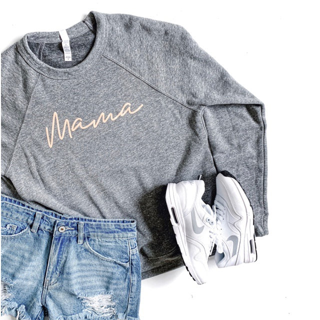 """Mama"" Ladies Triblend Grey/Peach Crewneck Sweatshirt"