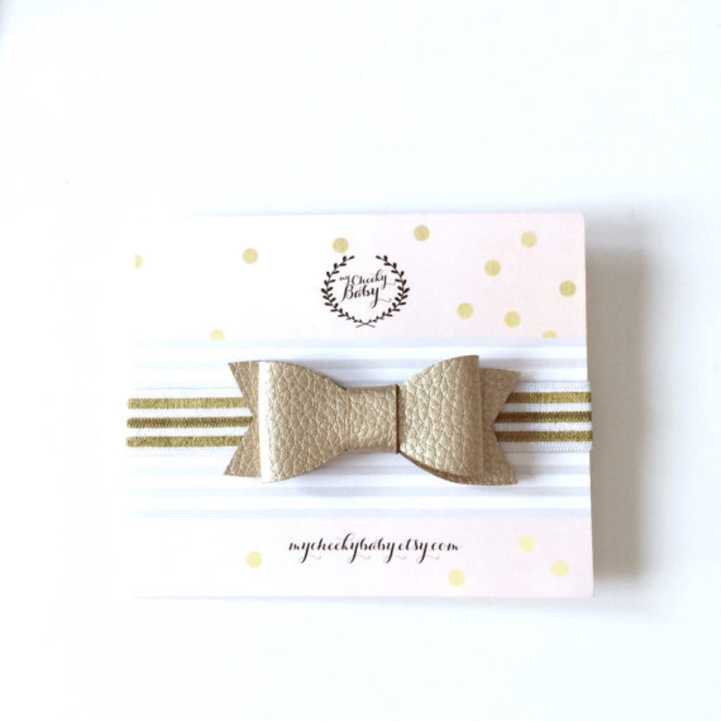 White + Gold Bow Elastic Headband