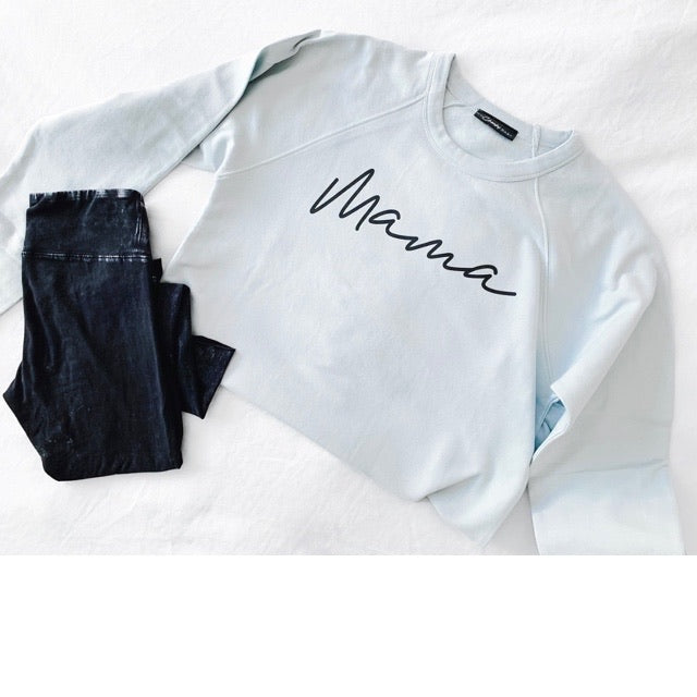 """Mama"" Adult Ladies Light Dusty Blue Crewneck Sweatshirt"