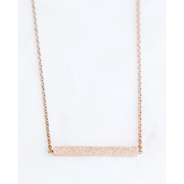 Stainless Steel Rose Gold Bar Necklace