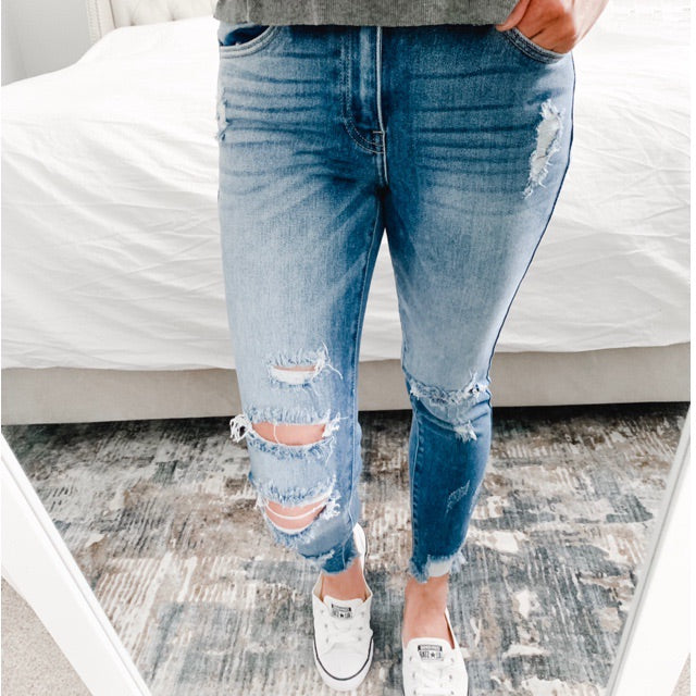 """Zoey"" - Adult Distressed Ripped Medium Blue Jeans"