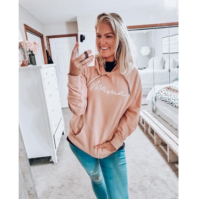 Mama - Ladies Peach Hoodie Adult Sweatshirt