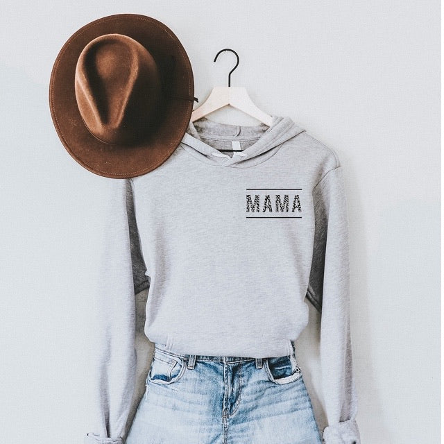 Mama - Grey Hoodie Adult Sweatshirt with White Drawstrings