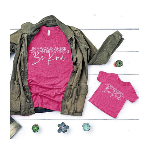 "2 PC Combo - Berry Pink ""Be Kind"" Adult and Child T-Shirt Set"