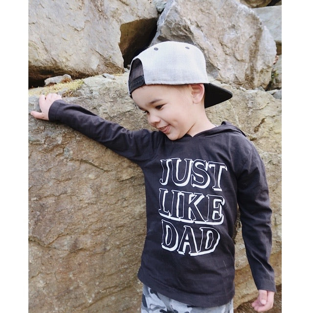 """Just like Dad"" Black Child Long Sleeve Hoodie Shirt - Size 4T"