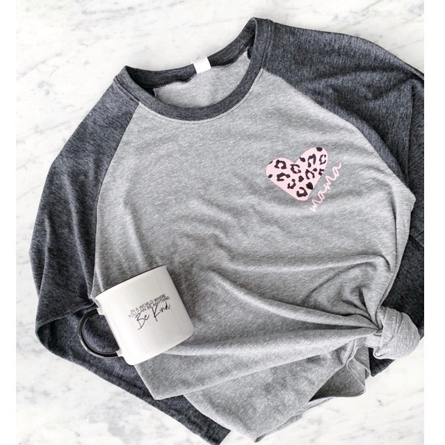 "Pink Leopard Heart ""Mama"" Ladies Adult Grey/Charcoal Raglan Shirt"