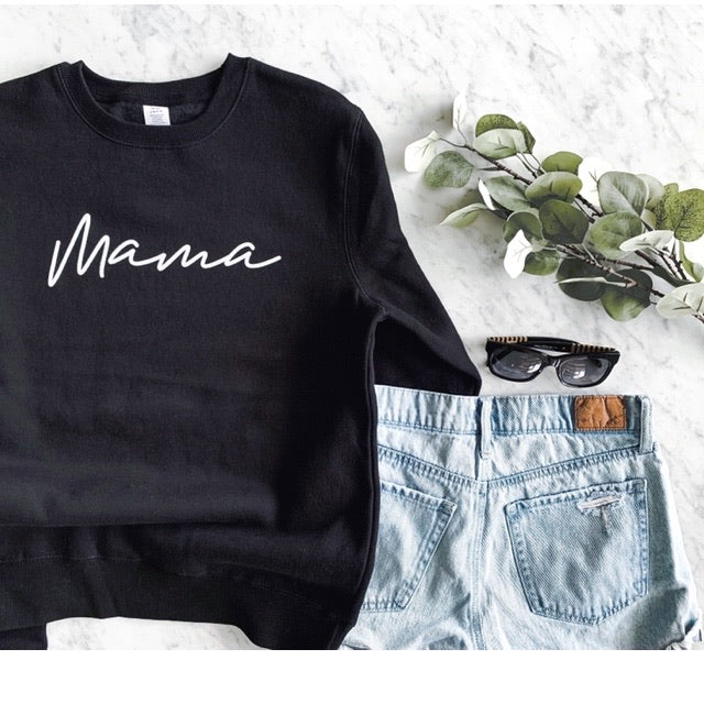 Mama Black & White Crewneck Ladies Adult Sweatshirt - Size Large