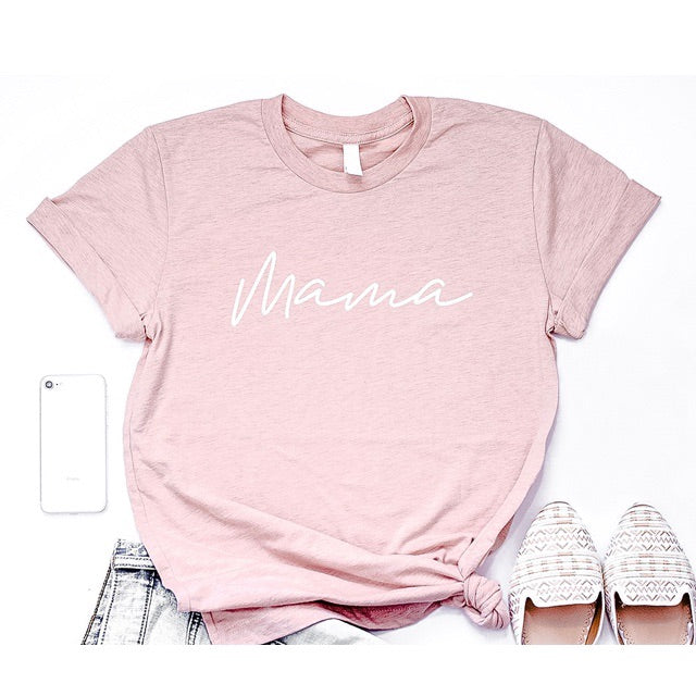 """Mama"" Adult Ladies Peach Crewneck T-Shirt with White Ink"