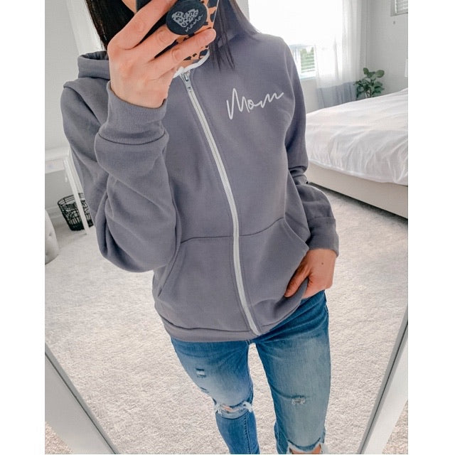"""Mom"" Ladies Slate Blue Fleece Zip Hoodie Sweatshirt"
