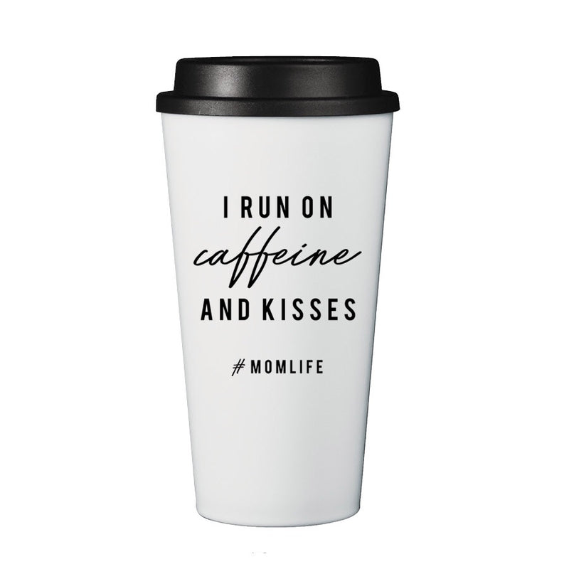 "2 PC SET - ""I run on caffeine and kisses"" Ladies Black Sweatshirt and Mug"