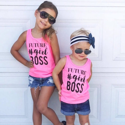 """Future #Girl Boss"" Pink Child Tank Top"