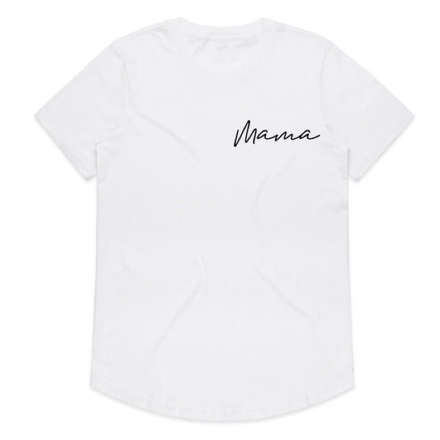 """Mama"" Ladies White Scoop Bottom T-Shirt"