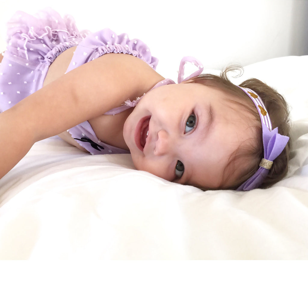 Purple Felt Bow Headband