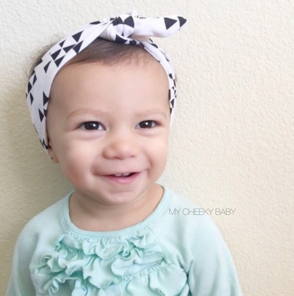 White with Black Triangles Top Knot Headband
