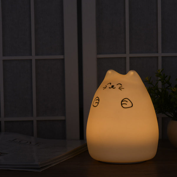 A Colorful 7 Colors USB LED Night Light Cat Tap Control